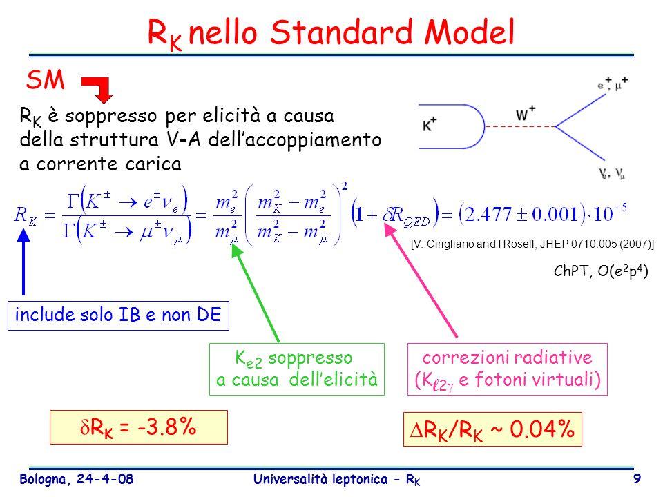 Bologna, 24-4-08 Universalità leptonica - R K 40 State-of-the-art Predizioni SM (incertezze dagli elementi della matrice CKM): BR(K + + ) (1.6×10 -5 )|Vcb| 4 [ 2 +( c - ) 2 ] (8.0 ± 1.1)×10 -11 BR(K L 0 ) (7.6×10 -5 )|Vcb| 4 2 (3.0 ± 0.6)×10 -11 Misura esistente: BR(K + + ) (E787/949 @BNL) (1.47 ) × 10 -10 (3 eventi) Misura recente: BR(K L 0 0 ) (E391a @ KEK) < 6.7 × 10 -8 (90%CL) K L 0 K + + V ud V* ub + V cd V* cb + V td V* tb = 0 compatibile SM +1.30 -0.89