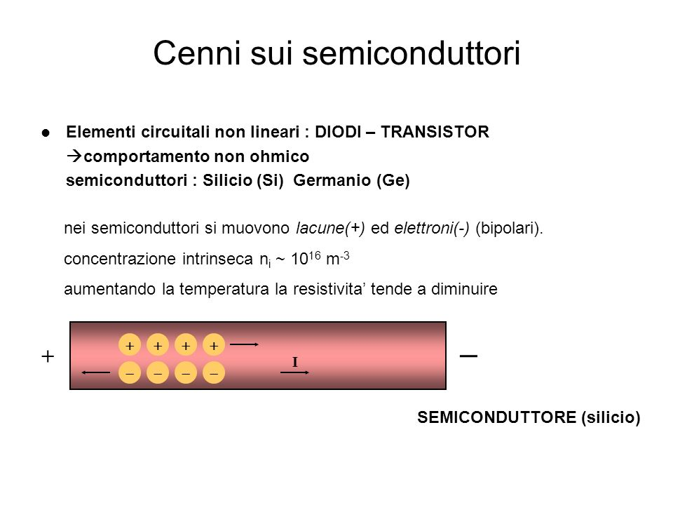 Cenni sui semiconduttori 4 Elementi circuitali non lineari : DIODI – TRANSISTOR comportamento non ohmico semiconduttori : Silicio (Si) Germanio (Ge) I