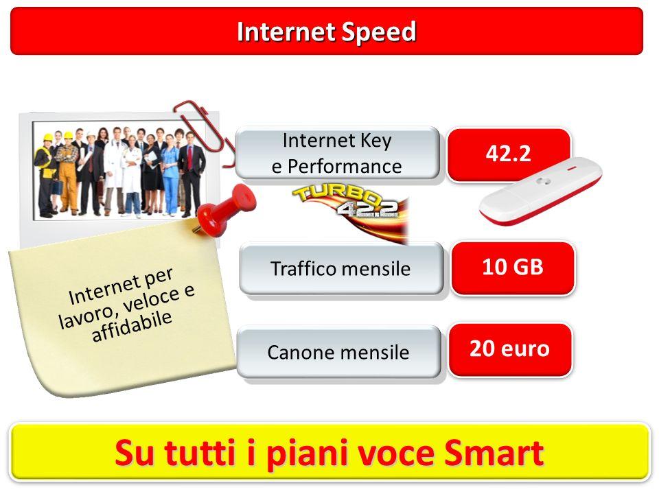 Internet Speed Internet per lavoro, veloce e affidabile 20 euro Canone mensile 42.2 Internet Key e Performance Internet Key e Performance 10 GB Traffico mensile Su tutti i piani voce Smart