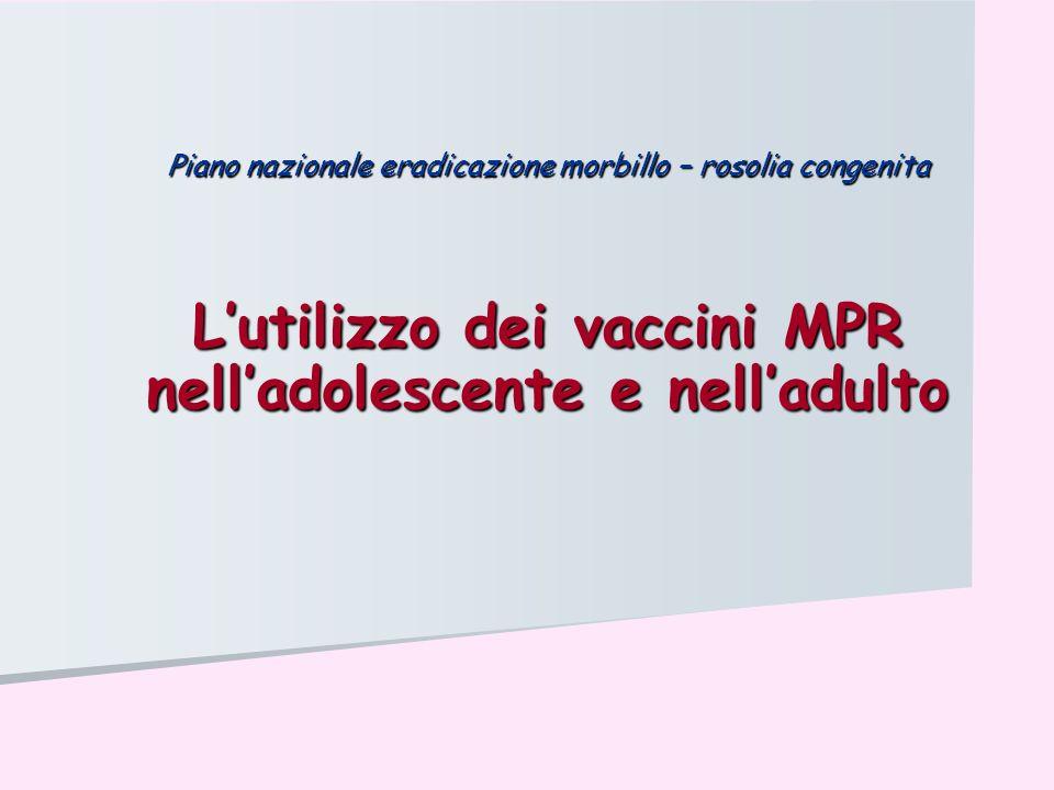 Artralgie dopo vaccinazione antirosolia Frequenza: Frequenza: 0,5% bambini 0,5% bambini 25% donne in età fertile ( 70% con la malattia ) 25% donne in età fertile ( 70% con la malattia ) Caratteristiche cliniche: Caratteristiche cliniche: Insorgono 1-3 settimane dopo la vaccinazione Insorgono 1-3 settimane dopo la vaccinazione Durano 1-3 settimane Durano 1-3 settimane Nessuna evidenza di associazione con artriti croniche Nessuna evidenza di associazione con artriti croniche Lutilizzo dei vaccini MPR nelladolescente e nelladulto