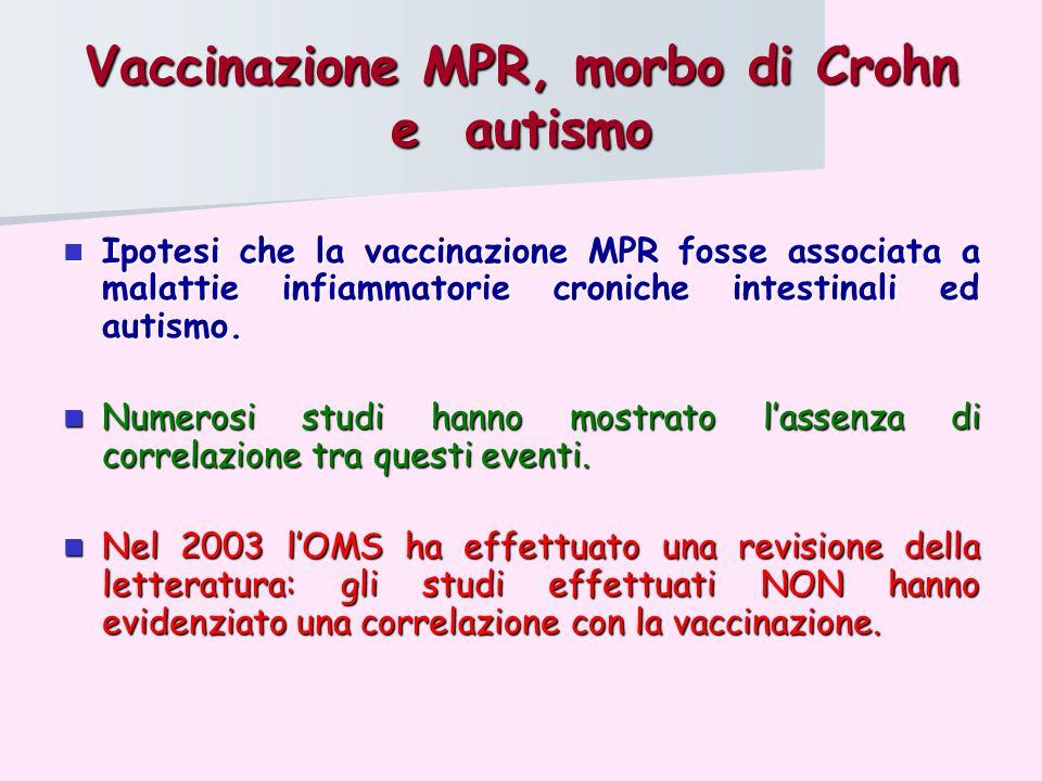 Vaccinazione MPR, morbo di Crohn e autismo Ipotesi che la vaccinazione MPR fosse associata a malattie infiammatorie croniche intestinali ed autismo. I