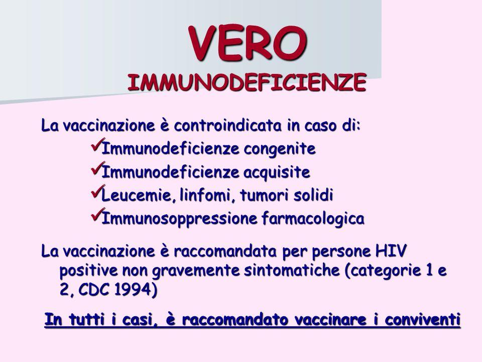 VERO IMMUNODEFICIENZE La vaccinazione è controindicata in caso di: Immunodeficienze congenite Immunodeficienze congenite Immunodeficienze acquisite Im