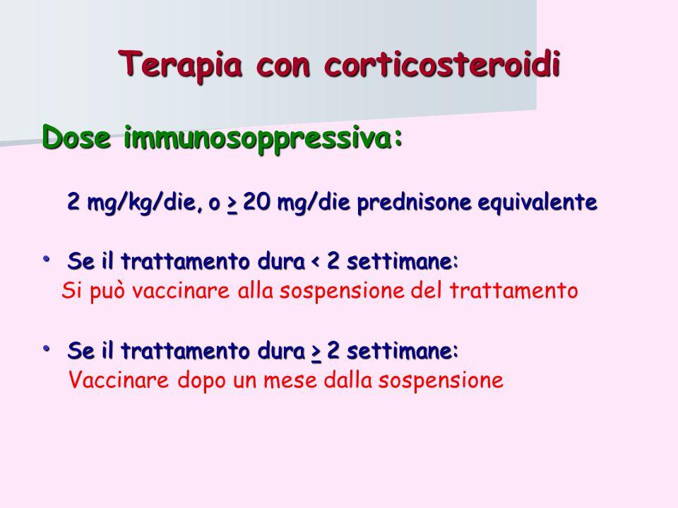 Terapia con corticosteroidi Dose immunosoppressiva: 2 mg/kg/die, o > 20 mg/die prednisone equivalente Se il trattamento dura < 2 settimane: Se il trat