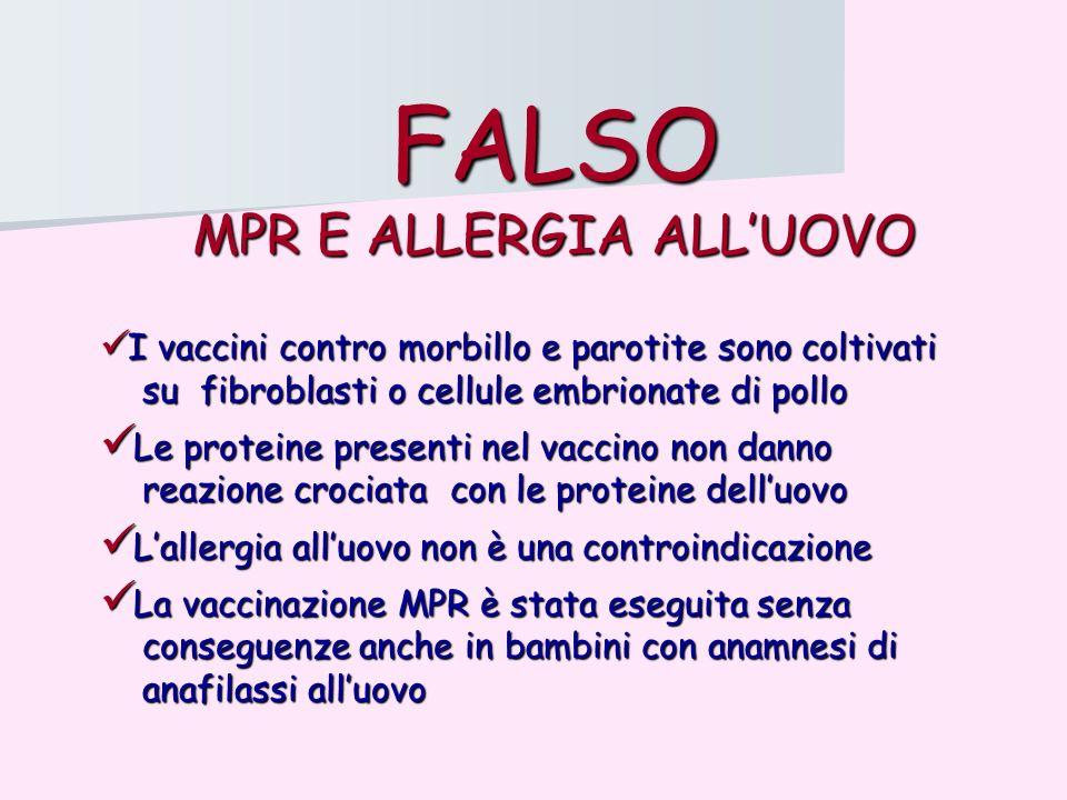 FALSO MPR E ALLERGIA ALLUOVO I vaccini contro morbillo e parotite sono coltivati I vaccini contro morbillo e parotite sono coltivati su fibroblasti o