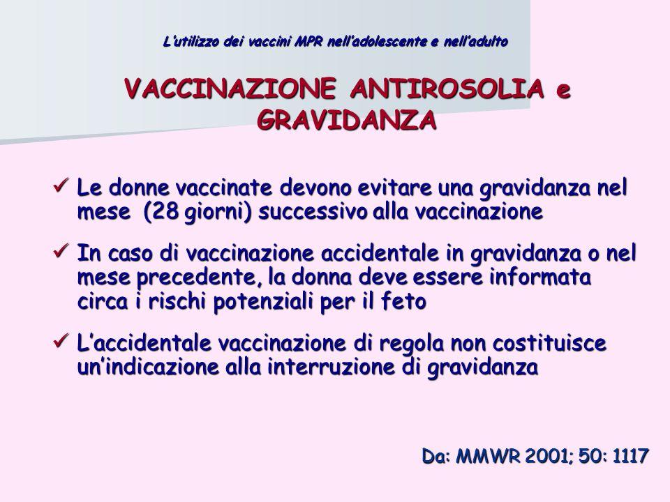 VACCINAZIONE ANTIROSOLIA e GRAVIDANZA Le donne vaccinate devono evitare una gravidanza nel mese (28 giorni) successivo alla vaccinazione Le donne vacc