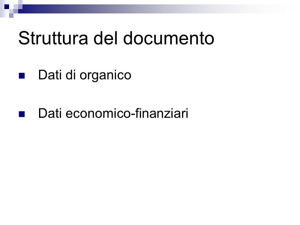 Struttura del documento Dati di organico Dati economico-finanziari