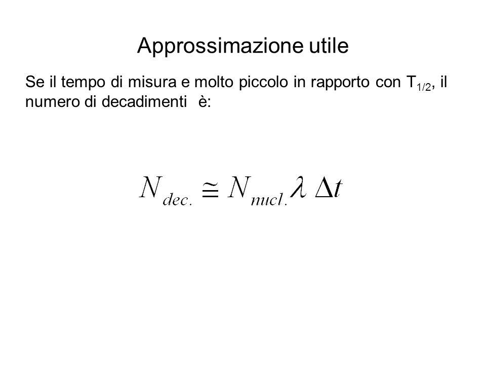 Approssimazione utile Se il tempo di misura e molto piccolo in rapporto con T 1/2, il numero di decadimenti è: