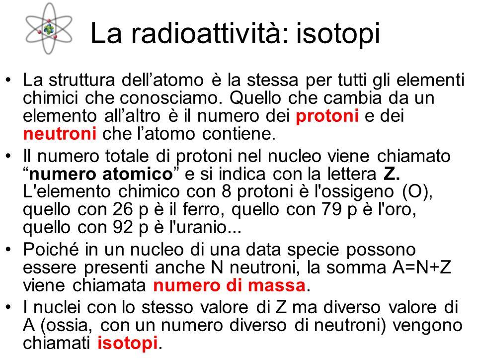 La struttura dellatomo è la stessa per tutti gli elementi chimici che conosciamo. Quello che cambia da un elemento allaltro è il numero dei protoni e