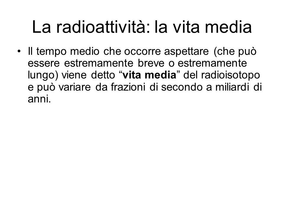 La radioattività: la vita media Il tempo medio che occorre aspettare (che può essere estremamente breve o estremamente lungo) viene detto vita media d