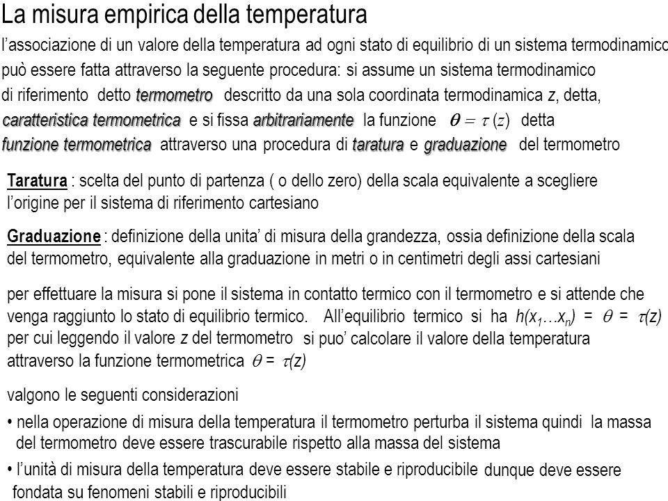 Allequilibrio termico si ha h(x 1 …x n ) = = (z) per cui leggendo il valore z del termometro si puo calcolare il valore della temperatura attraverso l
