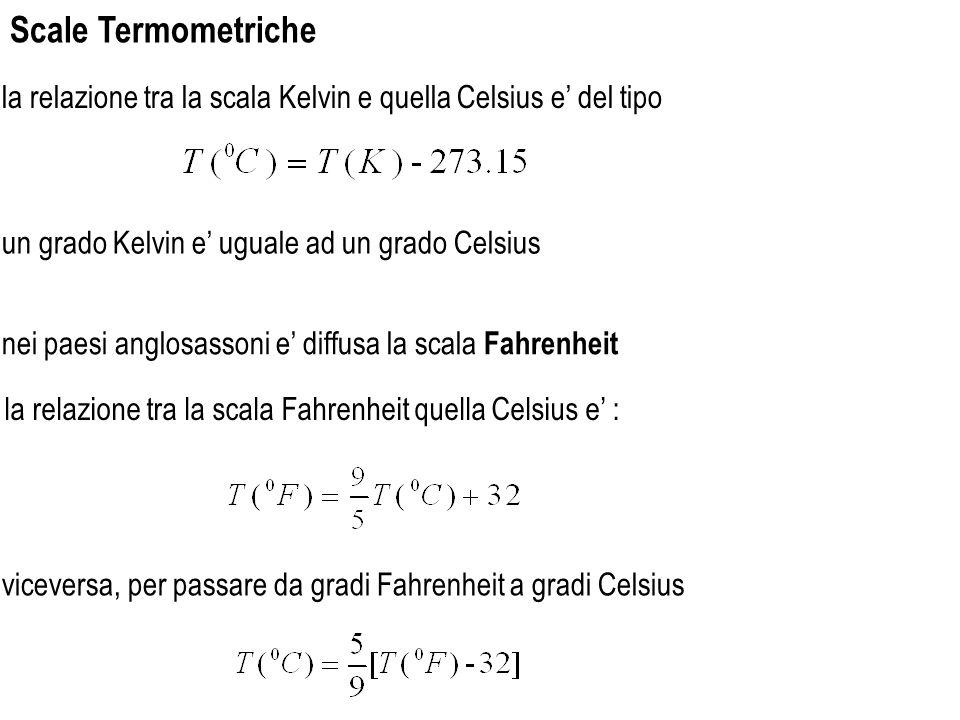 la relazione tra la scala Kelvin e quella Celsius e del tipo Scale Termometriche un grado Kelvin e uguale ad un grado Celsius nei paesi anglosassoni e