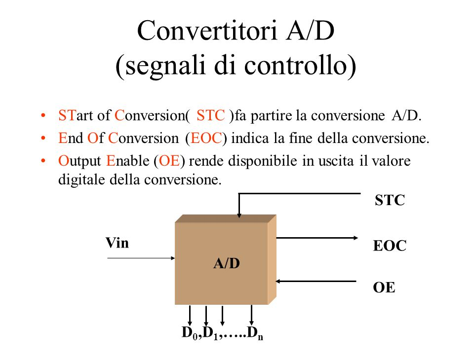 Convertitori A/D (segnali di controllo) STart of Conversion( STC )fa partire la conversione A/D. End Of Conversion (EOC) indica la fine della conversi
