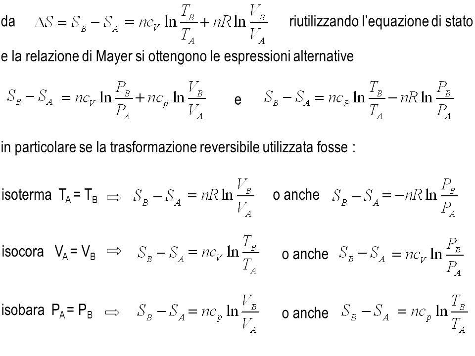 riutilizzando lequazione di stato e in particolare se la trasformazione reversibile utilizzata fosse : isoterma T A = T B isocora V A = V B isobara P