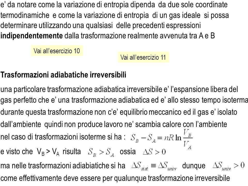 Vai allesercizio 10 Vai allesercizio 11 termodinamiche e come la variazione di entropia di un gas ideale si possa indipendentemente dalla trasformazio
