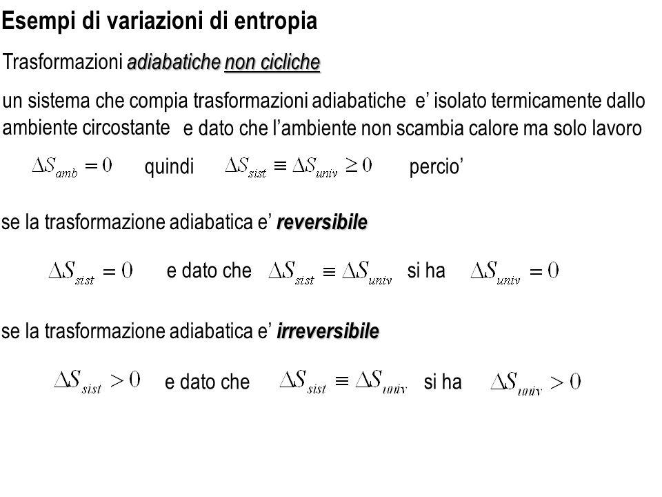 Esempi di variazioni di entropia adiabatiche non cicliche Trasformazioni adiabatiche non cicliche un sistema che compia trasformazioni adiabatiche e i