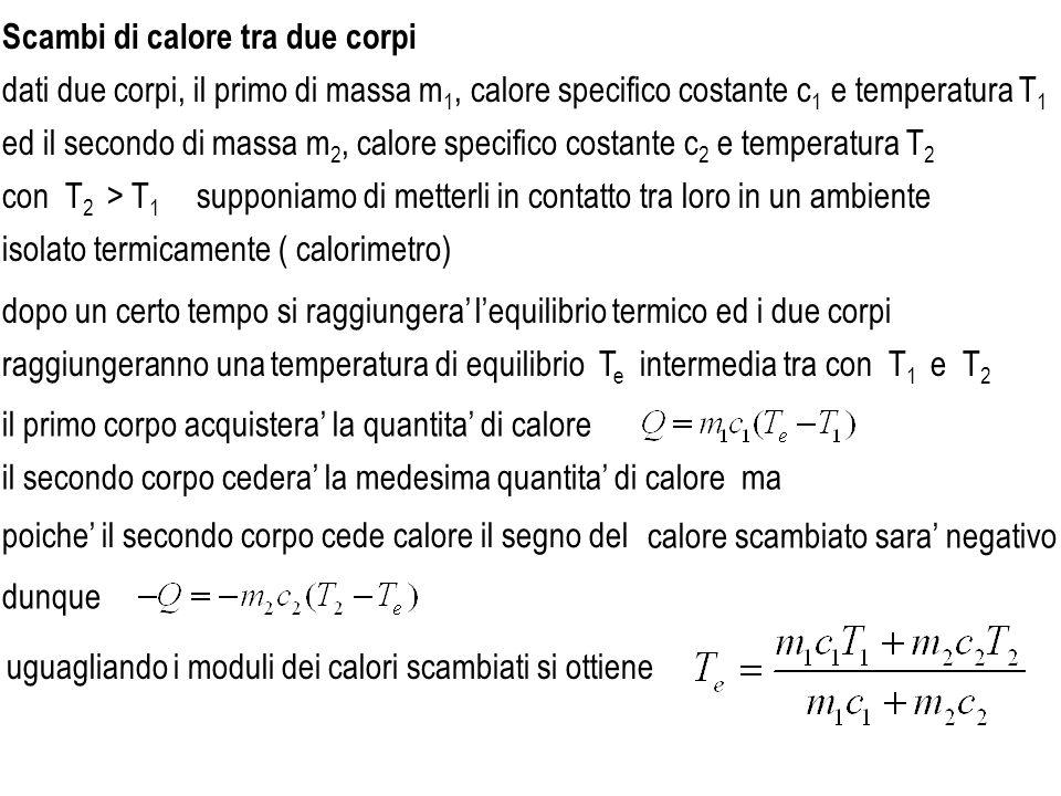 Scambi di calore tra due corpi dati due corpi, il primo di massa m 1, calore specifico costante c 1 e temperatura T 1 ed il secondo di massa m 2, calo