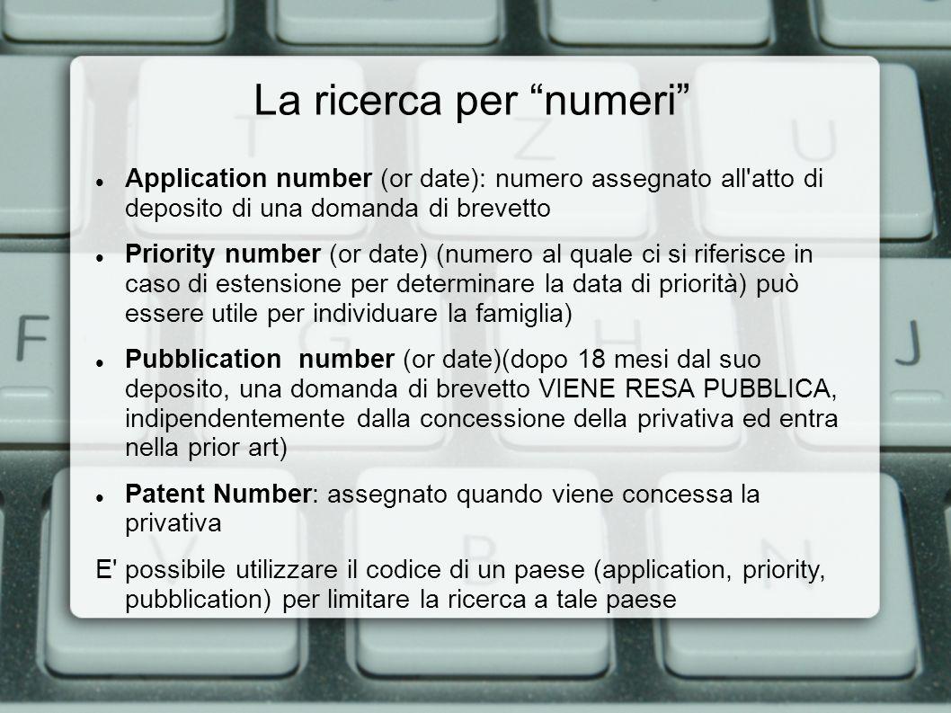 Application number (or date): numero assegnato all'atto di deposito di una domanda di brevetto Priority number (or date) (numero al quale ci si riferi