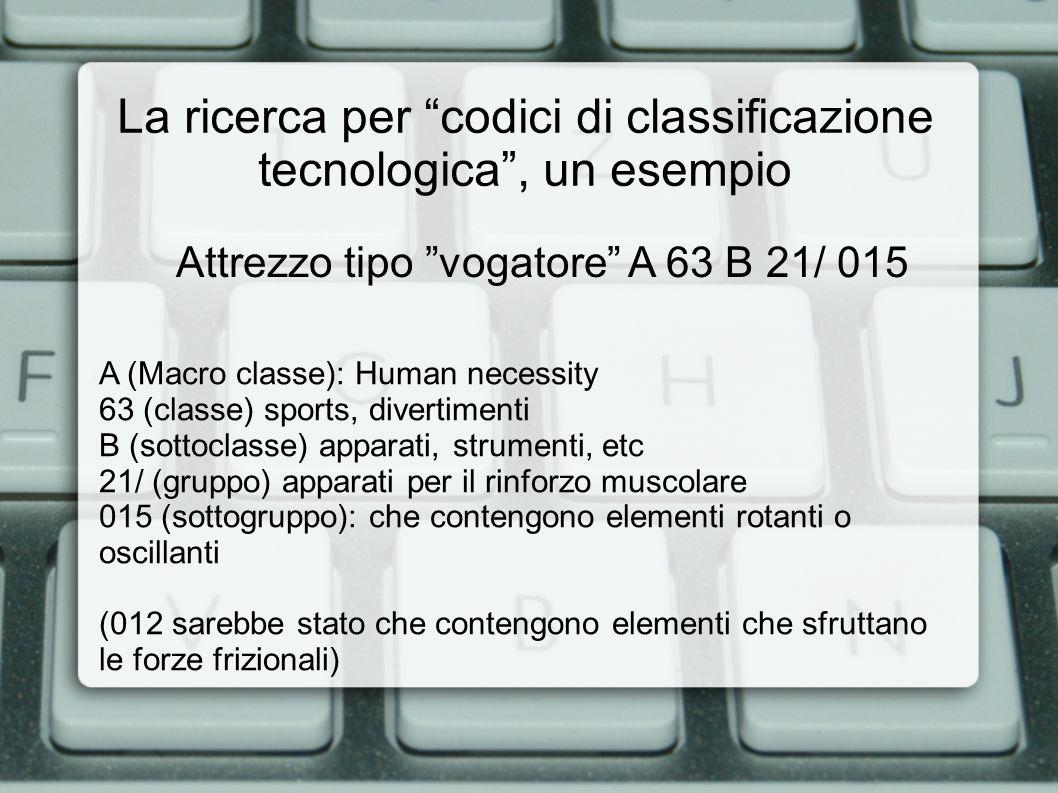 La ricerca per codici di classificazione tecnologica, un esempio A (Macro classe): Human necessity 63 (classe) sports, divertimenti B (sottoclasse) ap