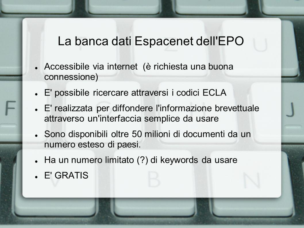 La banca dati Espacenet dell EPO: l interfaccia, Quick Search