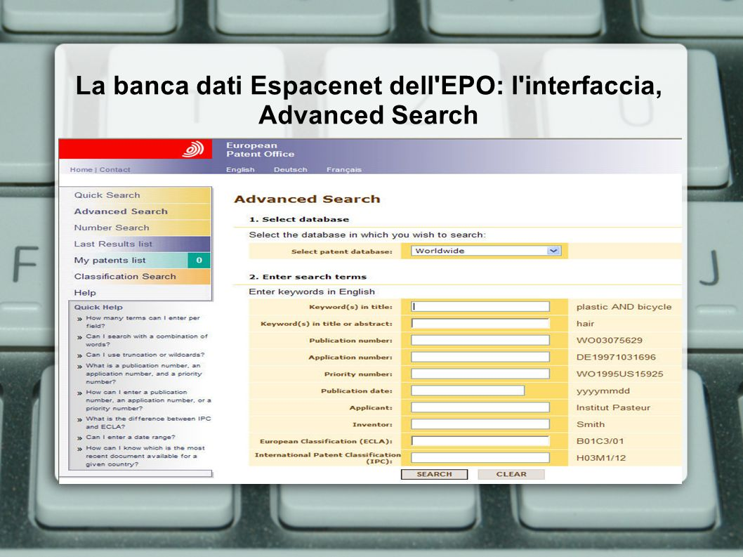 La banca dati Espacenet dell EPO: l interfaccia, Advanced Search