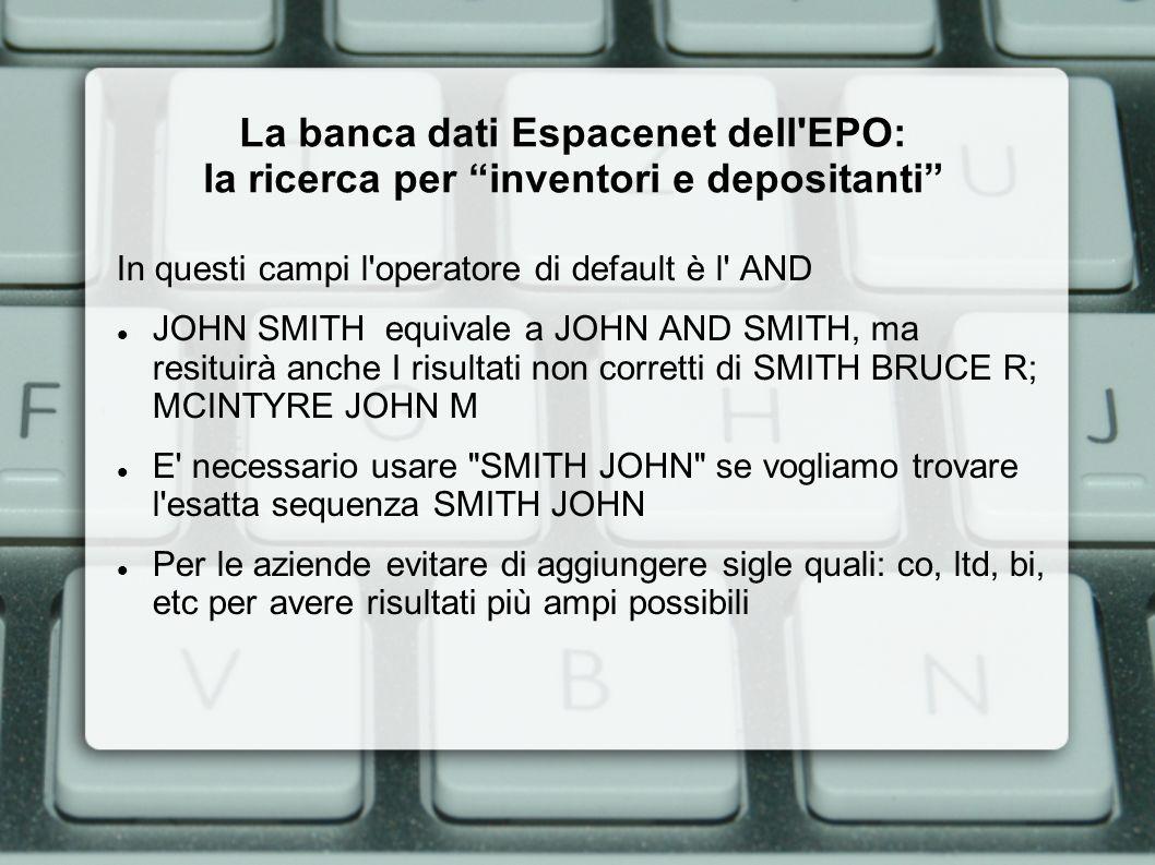 La banca dati Espacenet dell EPO: i risultati della ricerca