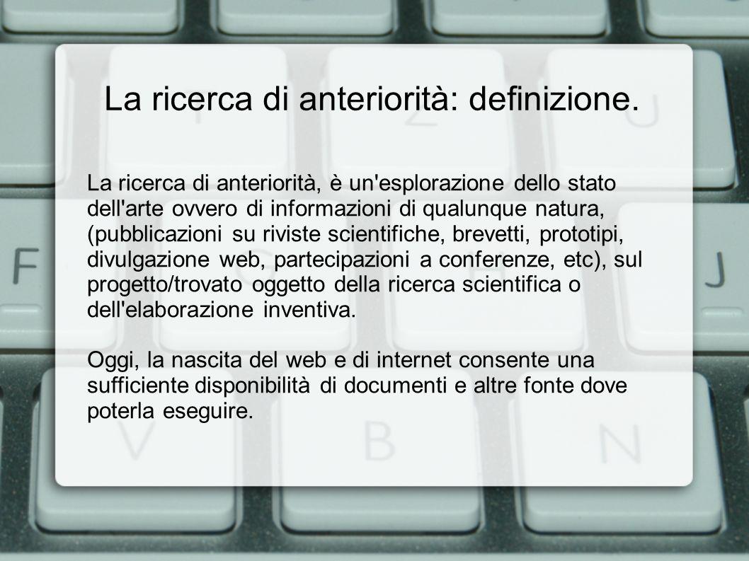 La ricerca di anteriorità: le fonti banche dati on-line.