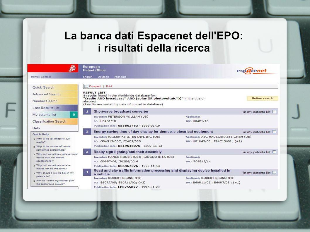 La banca dati Espacenet dell'EPO: i risultati della ricerca