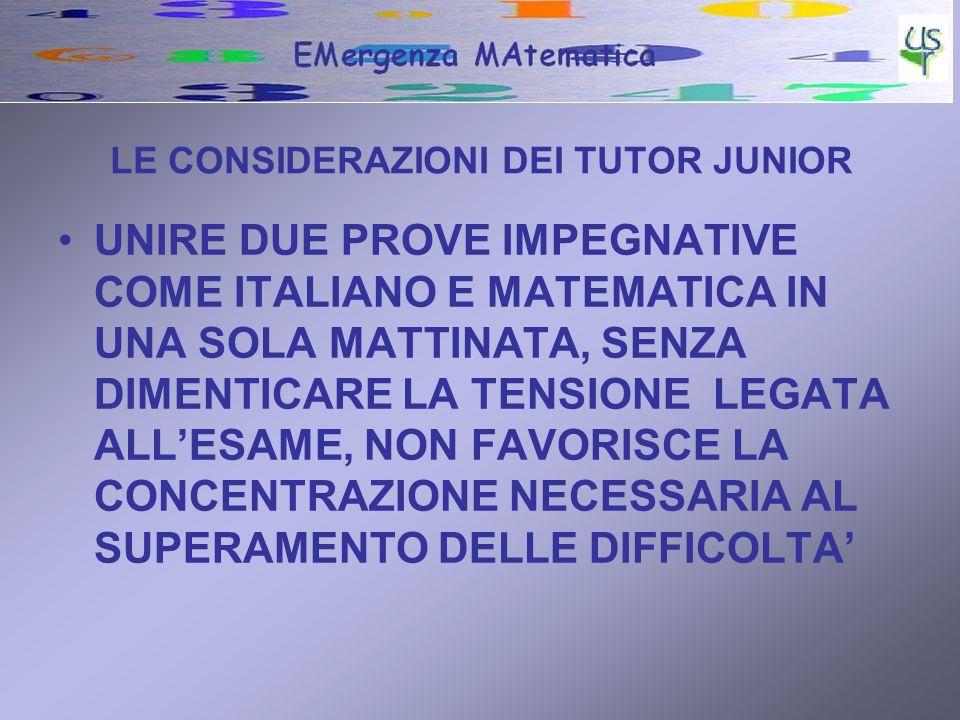 LE CONSIDERAZIONI DEI TUTOR JUNIOR UNIRE DUE PROVE IMPEGNATIVE COME ITALIANO E MATEMATICA IN UNA SOLA MATTINATA, SENZA DIMENTICARE LA TENSIONE LEGATA ALLESAME, NON FAVORISCE LA CONCENTRAZIONE NECESSARIA AL SUPERAMENTO DELLE DIFFICOLTA