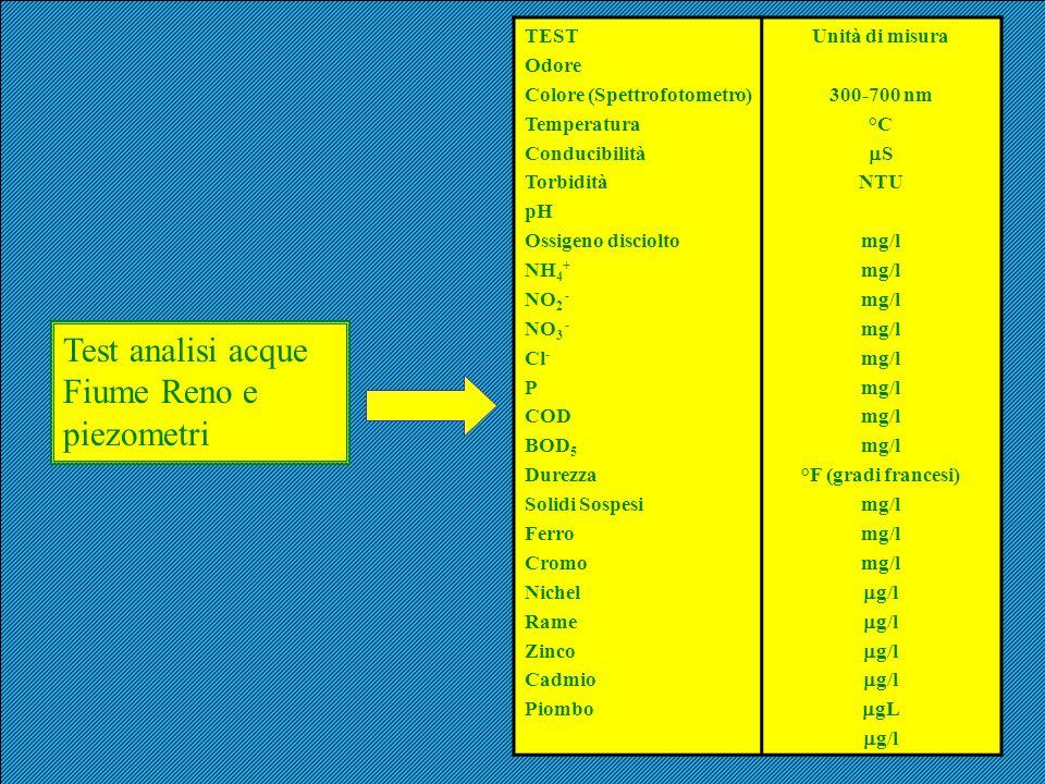 TEST Odore Colore (Spettrofotometro) Temperatura Conducibilità Torbidità pH Ossigeno disciolto NH 4 + NO 2 - NO 3 - Cl - P COD BOD 5 Durezza Solidi So