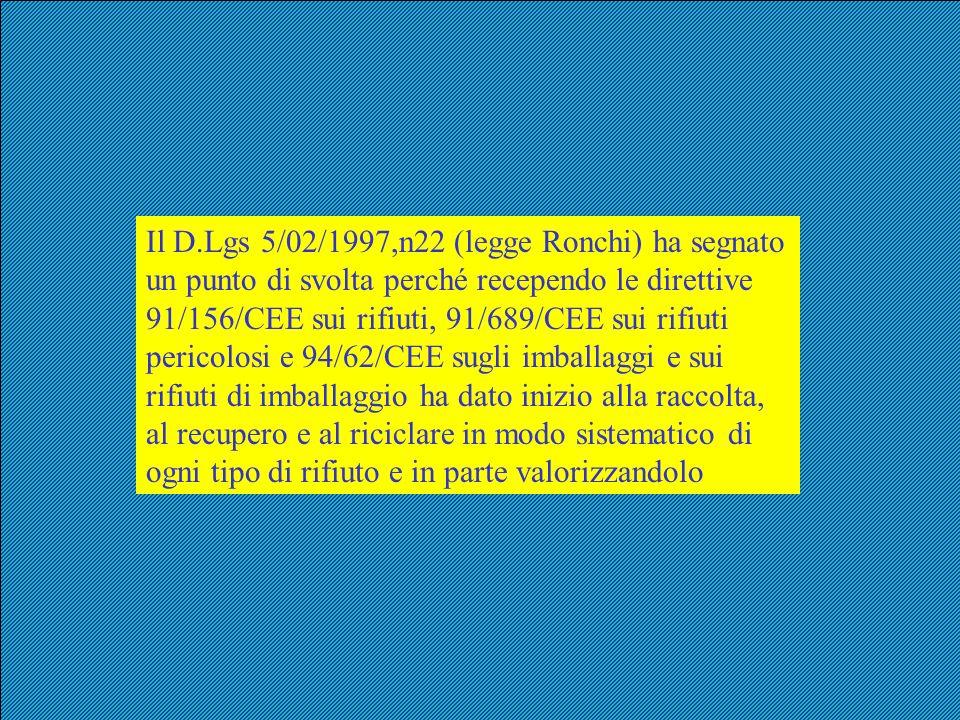 Il D.Lgs 5/02/1997,n22 (legge Ronchi) ha segnato un punto di svolta perché recependo le direttive 91/156/CEE sui rifiuti, 91/689/CEE sui rifiuti peric