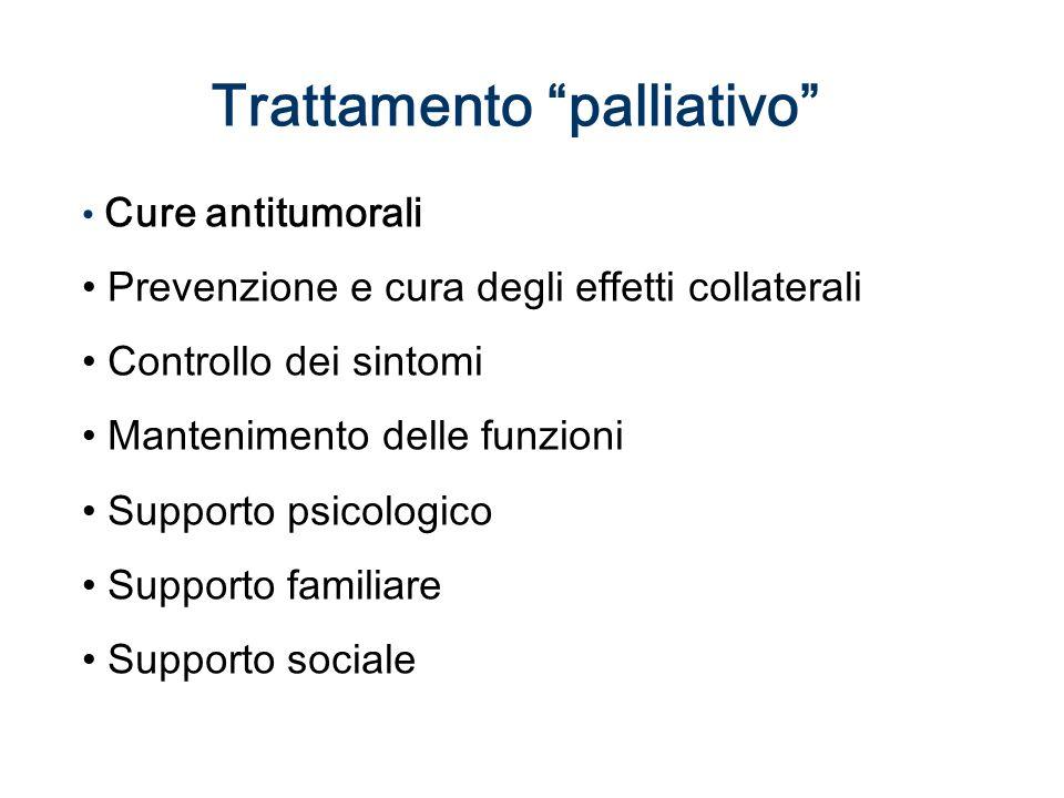 Trattamento palliativo Cure antitumorali Prevenzione e cura degli effetti collaterali Controllo dei sintomi Mantenimento delle funzioni Supporto psicologico Supporto familiare Supporto sociale