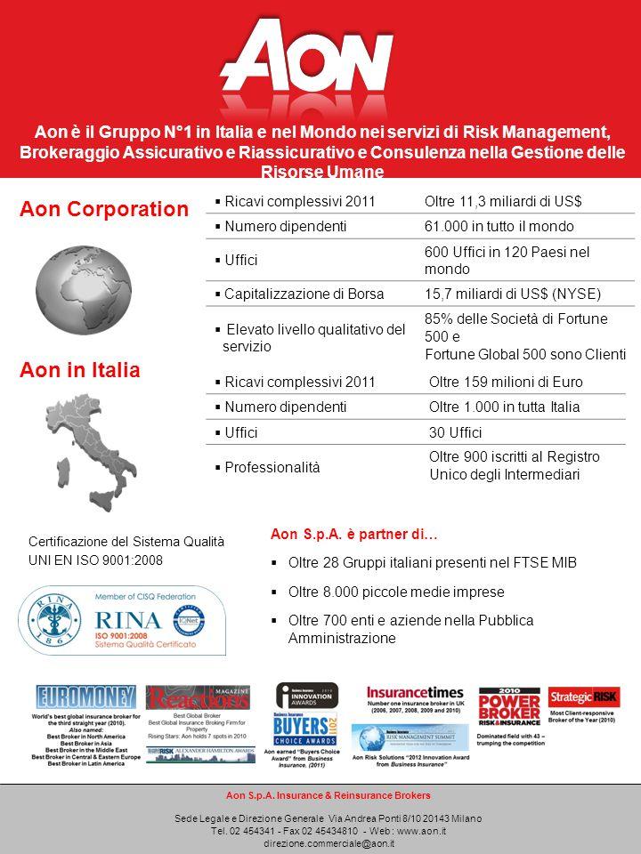 Aon è il Gruppo N°1 in Italia e nel Mondo nei servizi di Risk Management, Brokeraggio Assicurativo e Riassicurativo e Consulenza nella Gestione delle Risorse Umane Aon S.p.A.