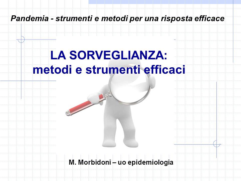 LA SORVEGLIANZA: metodi e strumenti efficaci Pandemia - strumenti e metodi per una risposta efficace M. Morbidoni – uo epidemiologia