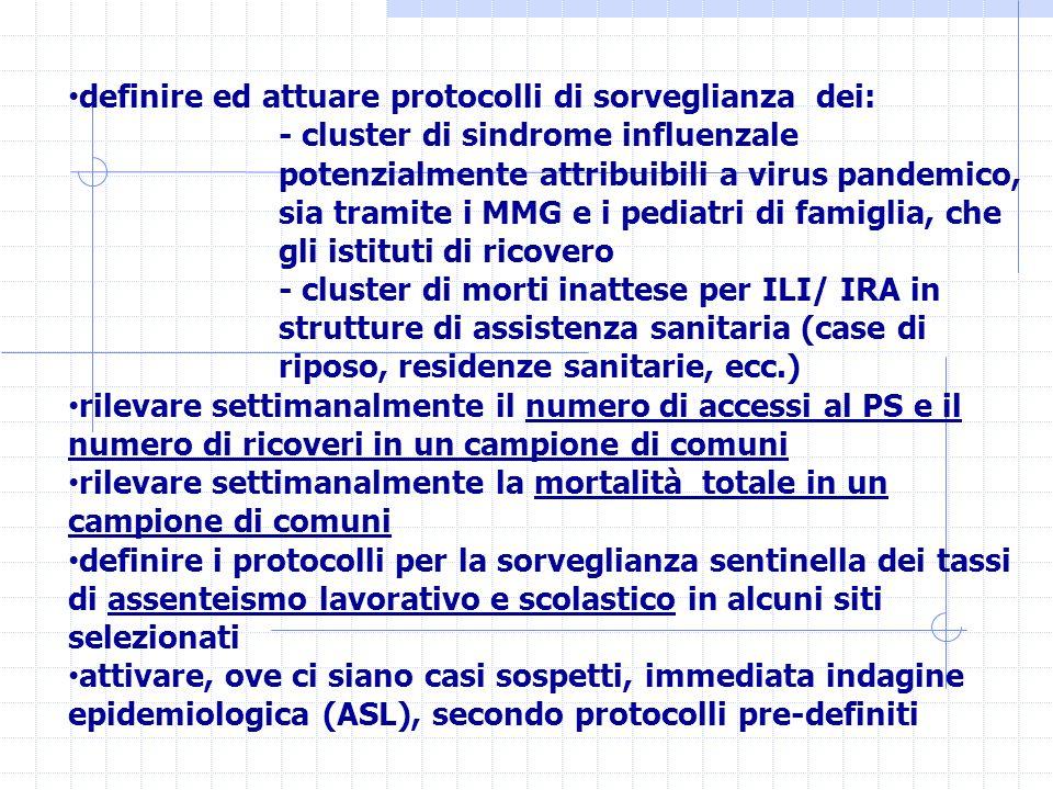definire ed attuare protocolli di sorveglianza dei: - cluster di sindrome influenzale potenzialmente attribuibili a virus pandemico, sia tramite i MMG