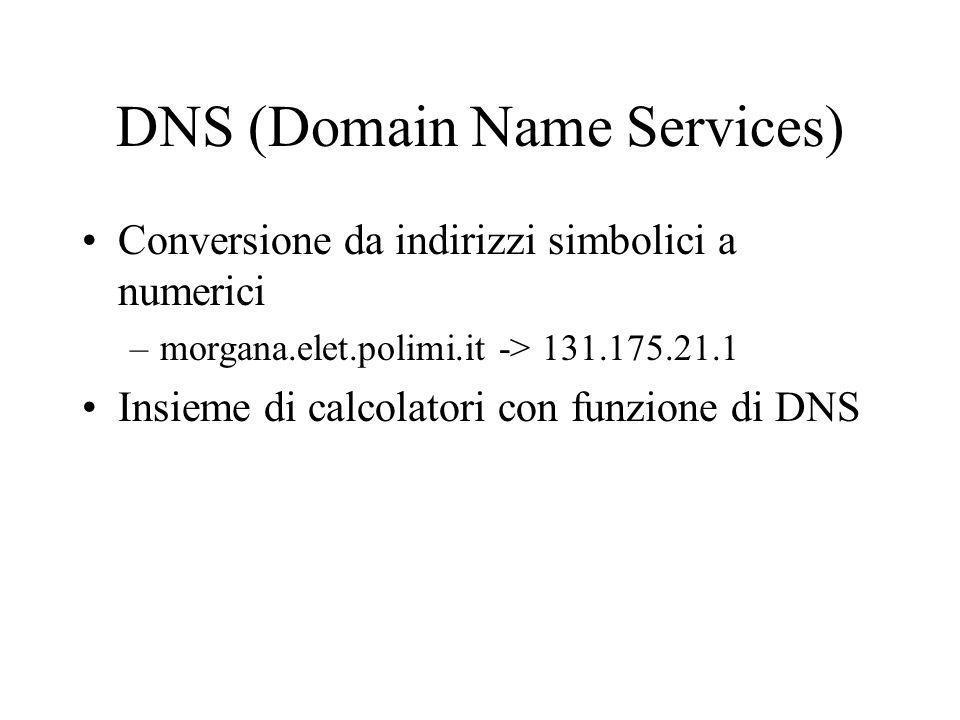 DNS (Domain Name Services) Conversione da indirizzi simbolici a numerici –morgana.elet.polimi.it -> 131.175.21.1 Insieme di calcolatori con funzione d