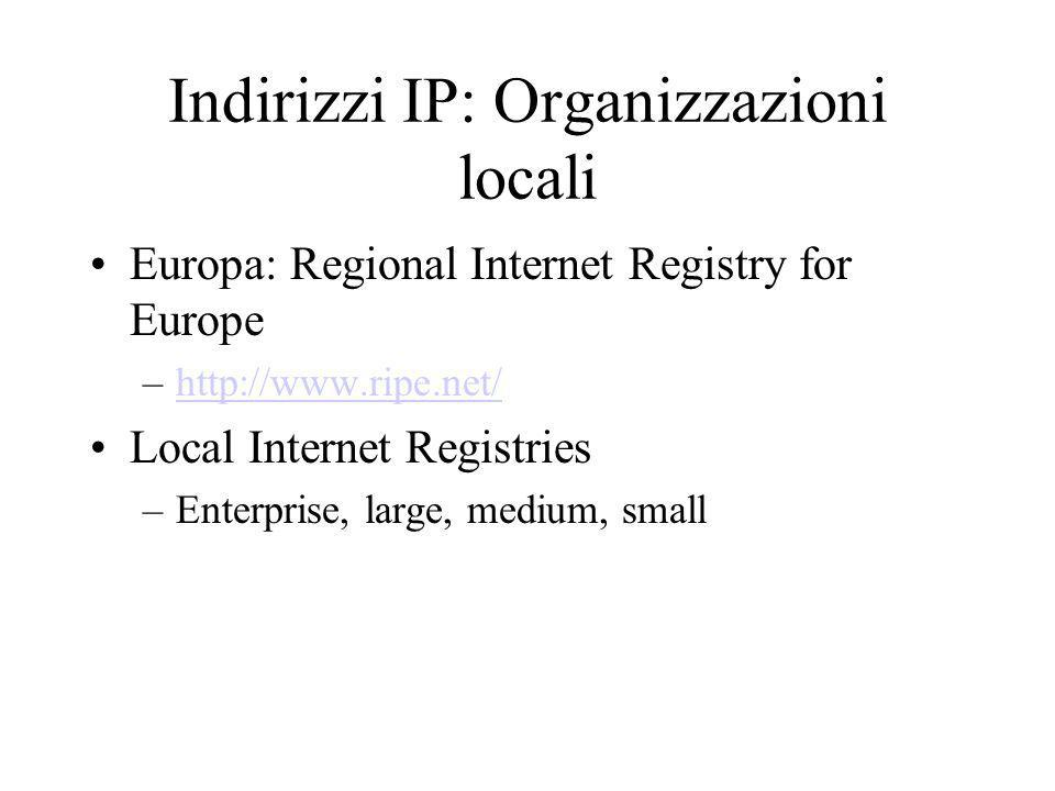 Indirizzi IP: Organizzazioni locali Europa: Regional Internet Registry for Europe –http://www.ripe.net/http://www.ripe.net/ Local Internet Registries –Enterprise, large, medium, small