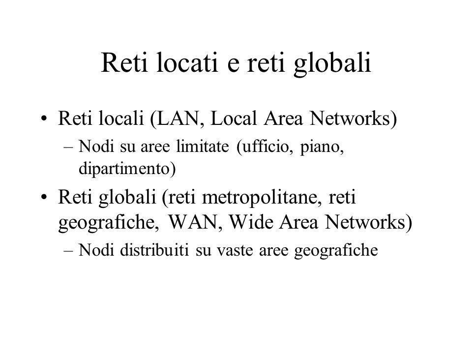 Reti locati e reti globali Reti locali (LAN, Local Area Networks) –Nodi su aree limitate (ufficio, piano, dipartimento) Reti globali (reti metropolita