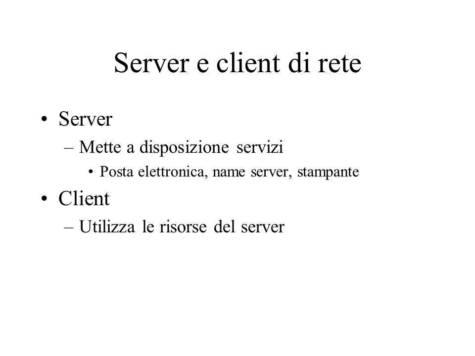 Server e client di rete Server –Mette a disposizione servizi Posta elettronica, name server, stampante Client –Utilizza le risorse del server