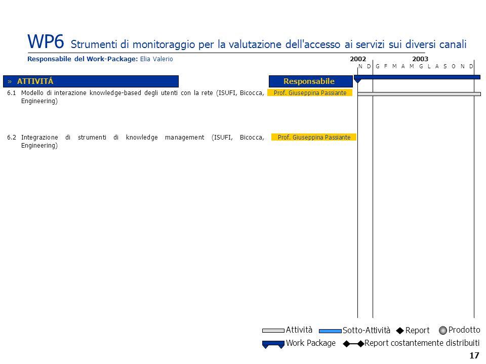 17 WP6 Strumenti di monitoraggio per la valutazione dell accesso ai servizi sui diversi canali 2002 N D G F M A M G L A S O N D Responsabile 2003 Prof.