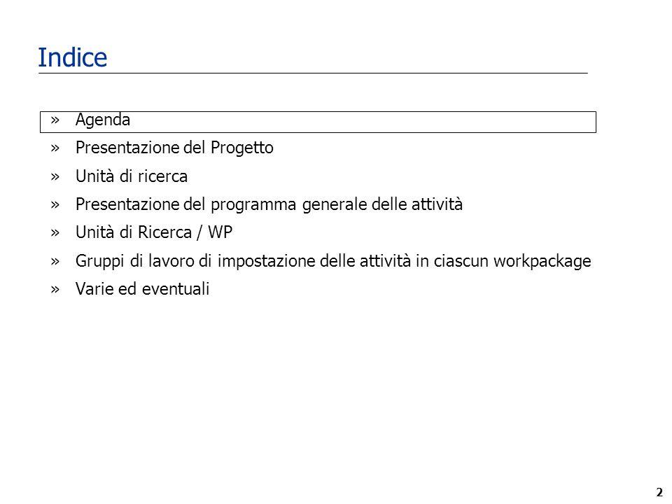 2 Indice »Agenda »Presentazione del Progetto »Unità di ricerca »Presentazione del programma generale delle attività »Unità di Ricerca / WP »Gruppi di lavoro di impostazione delle attività in ciascun workpackage »Varie ed eventuali