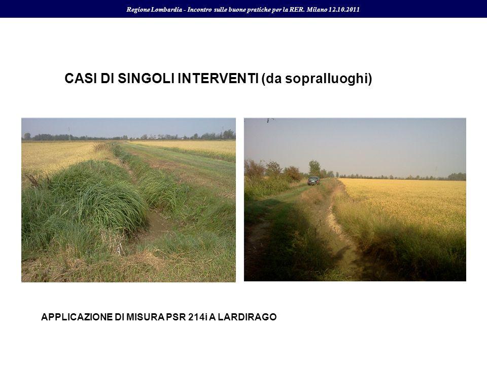 CASI DI SINGOLI INTERVENTI (da sopralluoghi) Regione Lombardia - Incontro sulle buone pratiche per la RER. Milano 12.10.2011 APPLICAZIONE DI MISURA PS