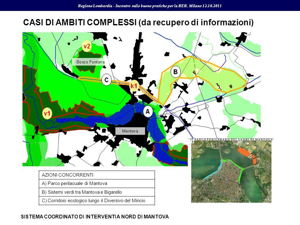 AZIONI CONCORRENTI A) Parco perilacuale di Mantova B) Sistemi verdi tra Mantova e Bigarello C) Corridoio ecologico lungo il Diversivo del Mincio CASI