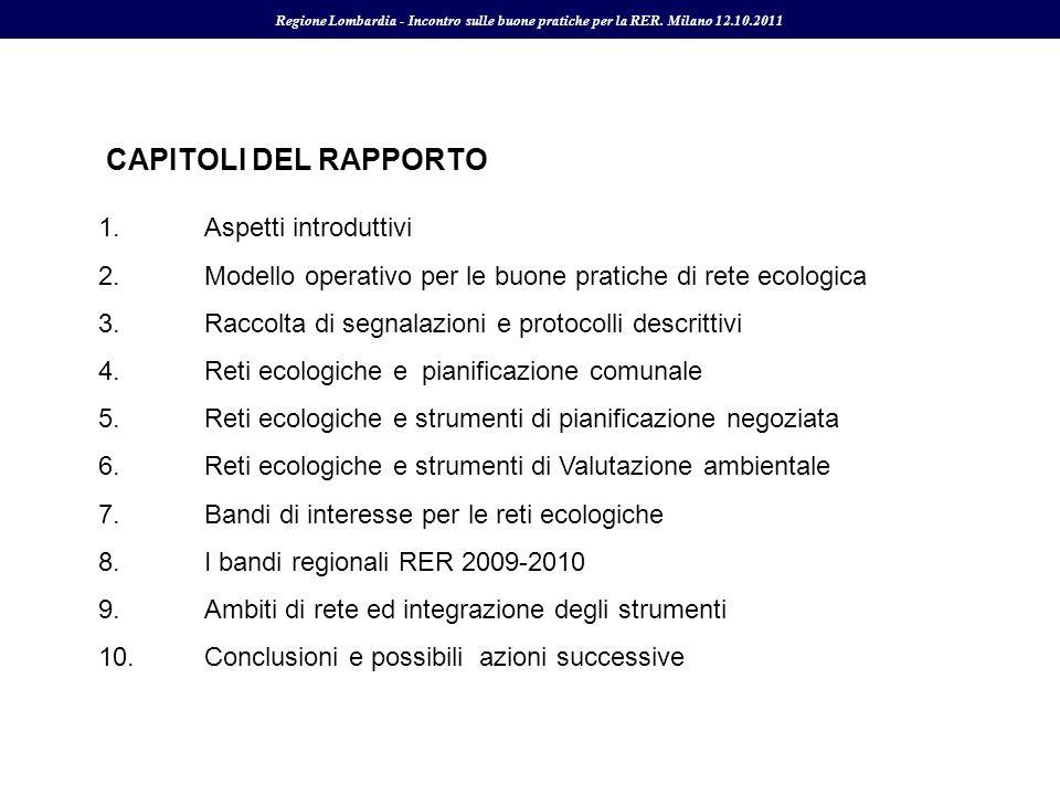 1.Aspetti introduttivi 2.Modello operativo per le buone pratiche di rete ecologica 3.Raccolta di segnalazioni e protocolli descrittivi 4.Reti ecologic