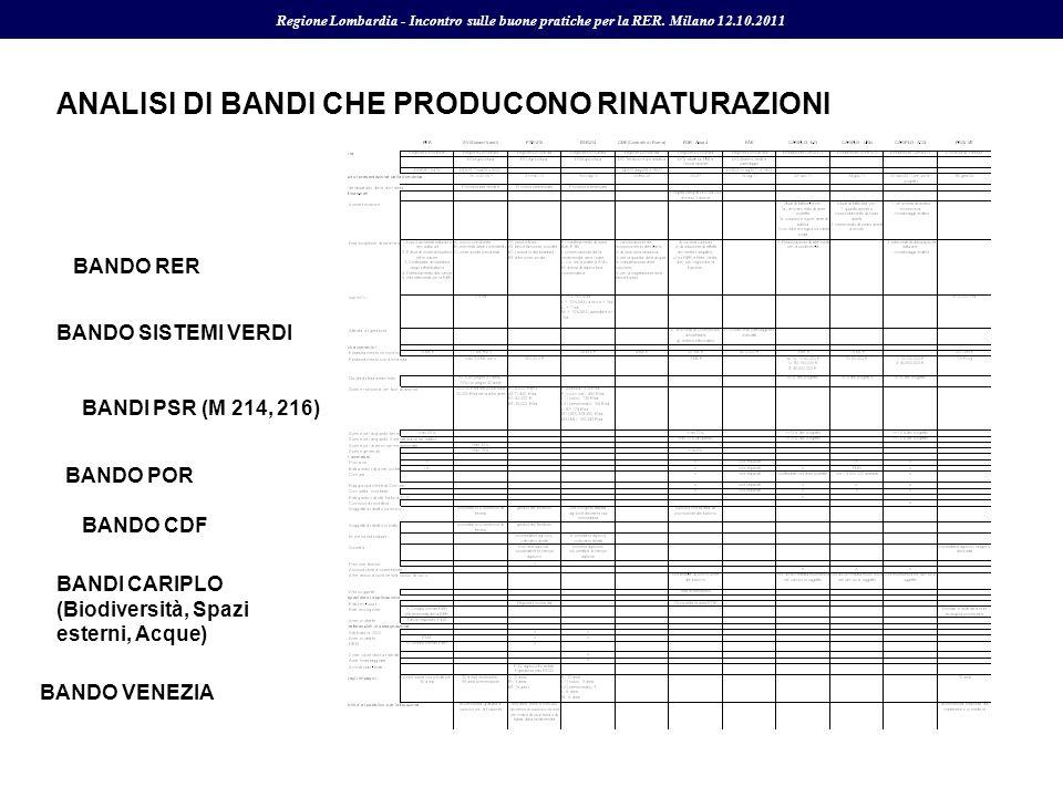 ANALISI DI BANDI CHE PRODUCONO RINATURAZIONI BANDO SISTEMI VERDI BANDI PSR (M 214, 216) BANDO RER BANDI CARIPLO (Biodiversità, Spazi esterni, Acque) B