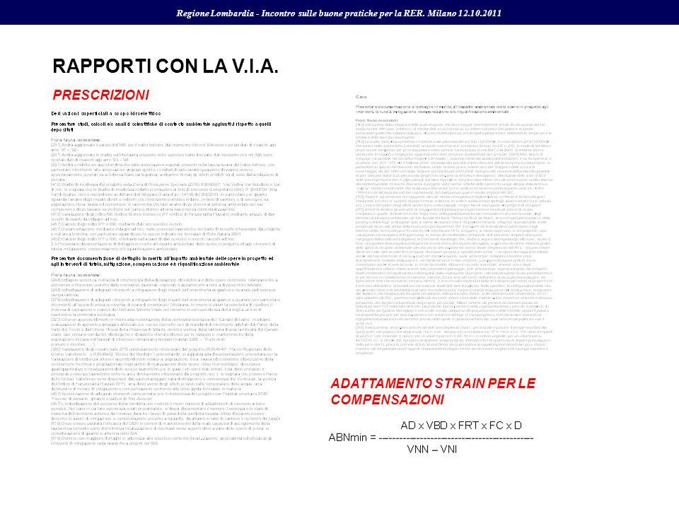 RAPPORTI CON LA V.I.A. Regione Lombardia - Incontro sulle buone pratiche per la RER. Milano 12.10.2011 PRESCRIZIONI ADATTAMENTO STRAIN PER LE COMPENSA