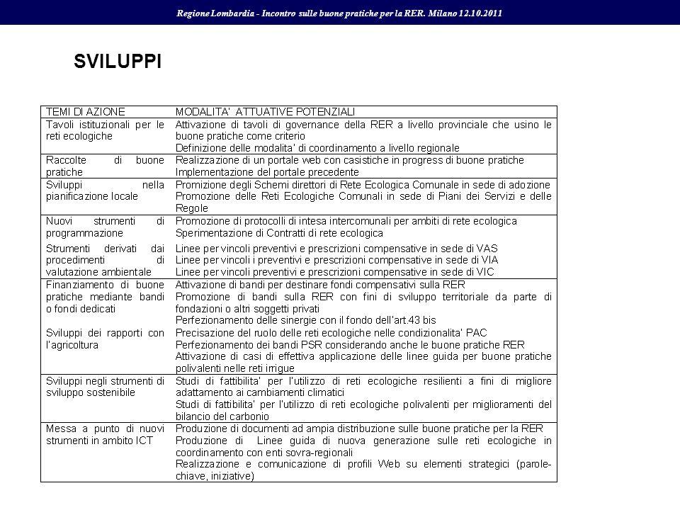SVILUPPI Regione Lombardia - Incontro sulle buone pratiche per la RER. Milano 12.10.2011