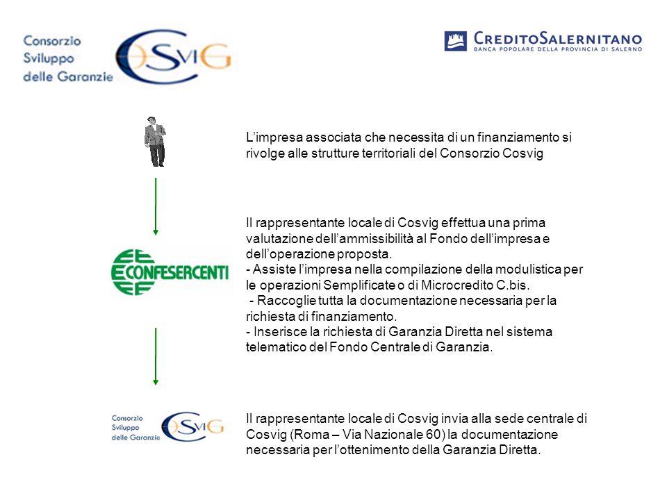 Il Rappresentante locale di Cosvig e il legale rappresentante dellimpresa consegnano alla Filiale competente tutti i documenti necessari per la richiesta di finanziamento nonché gli allegati compilati per la richiesta di Garanzia Diretta.