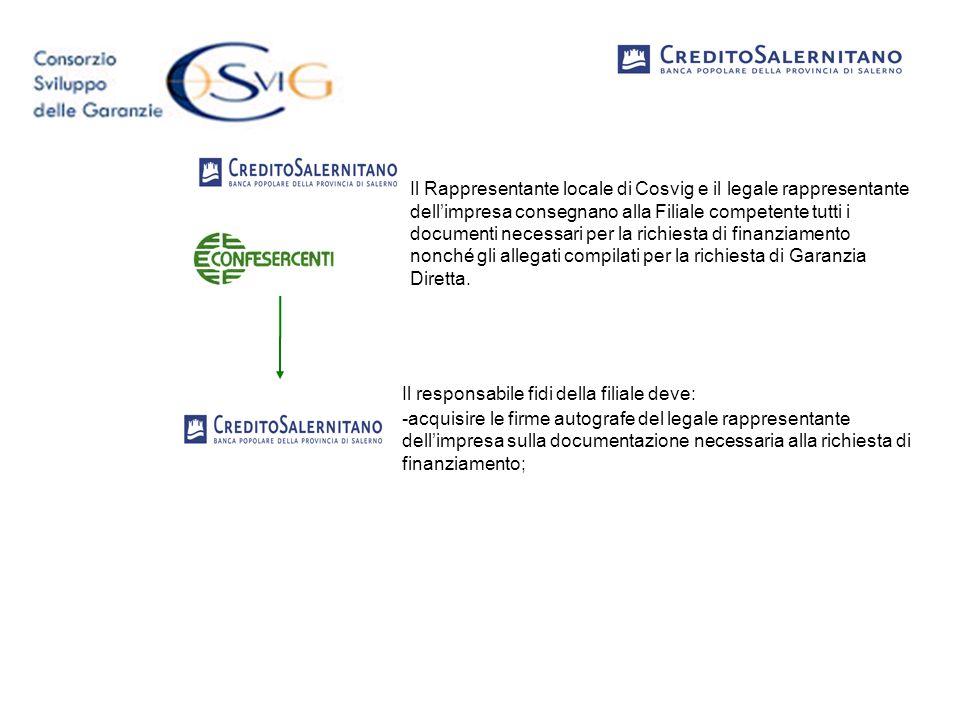 Il Rappresentante locale di Cosvig e il legale rappresentante dellimpresa consegnano alla Filiale competente tutti i documenti necessari per la richie