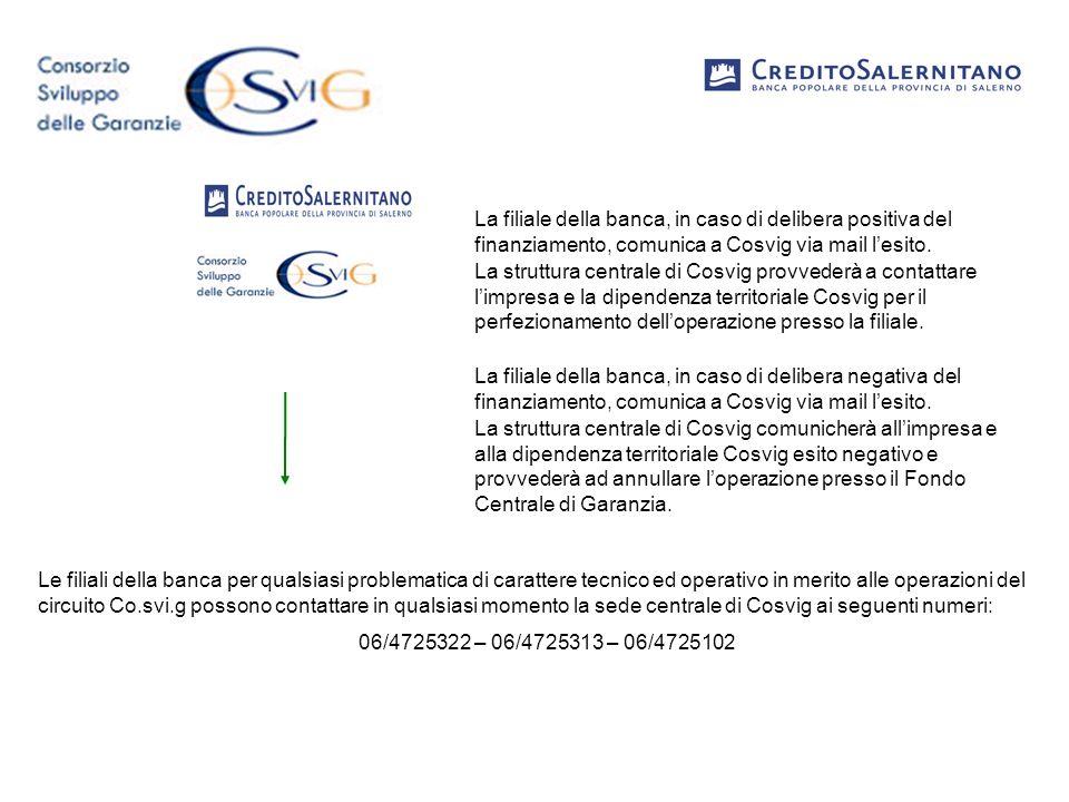 La filiale della banca, in caso di delibera positiva del finanziamento, comunica a Cosvig via mail lesito. La struttura centrale di Cosvig provvederà
