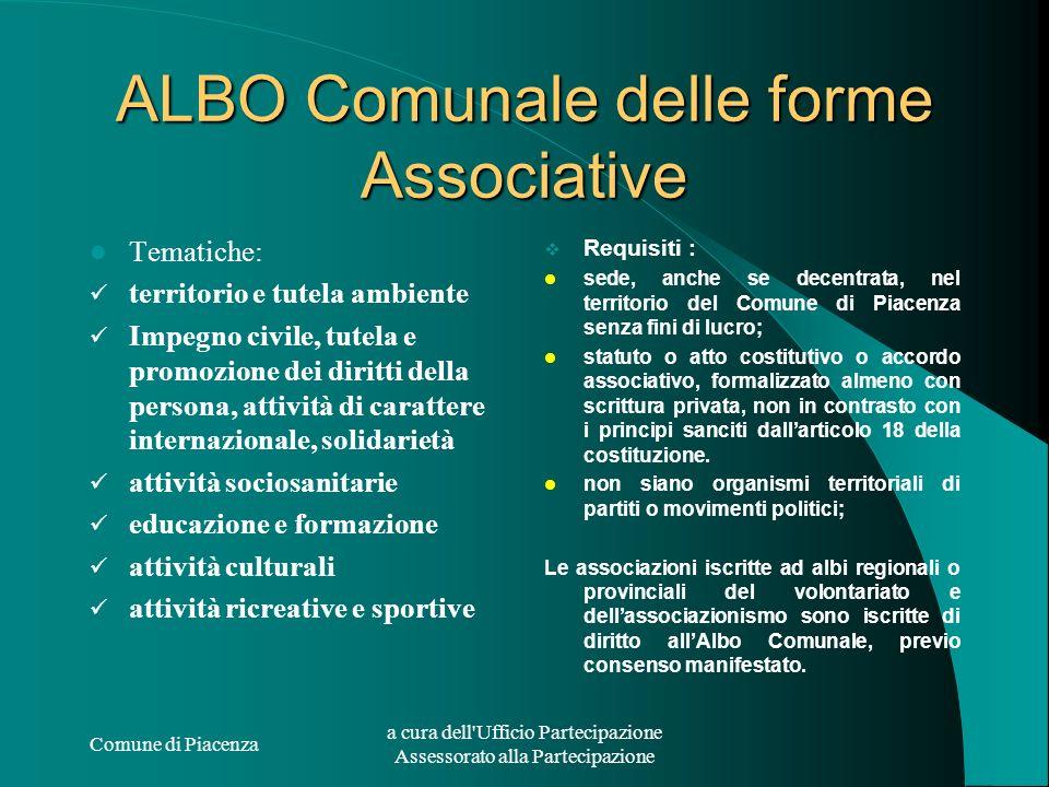 Comune di Piacenza a cura dell'Ufficio Partecipazione Assessorato alla Partecipazione ALBO Comunale delle forme Associative Tematiche: territorio e tu